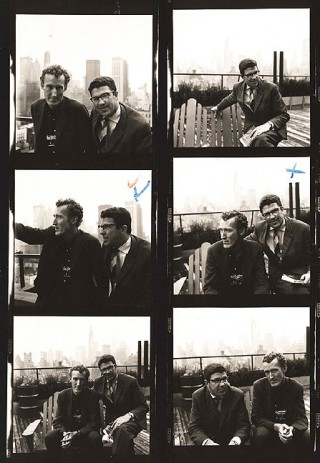 A contact sheet of Peggy's shots of Joe Berendt and William Claxton, New York City.<br /> (c) William Claxton