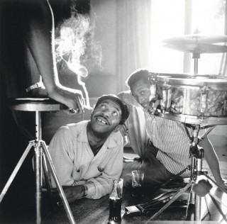 Philly Joe Jones (left) and Larance Marable, Falcon Lair, Beverly Hills. (c) William Claxton